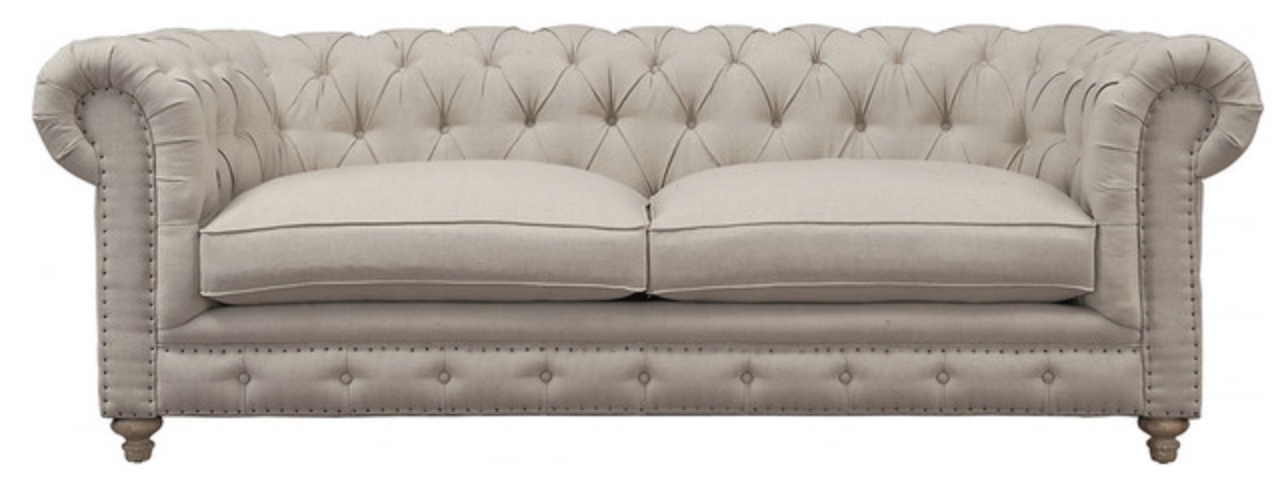Tufted Linen Sofa / Couch
